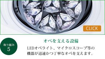 オペを支える設備 LEDオペライト、マイクロスコープ等の機器が迅速かつ丁寧なオペを支えます。